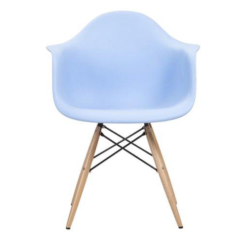 Şaziye Metal Eames Kollu İthal Sandalye Ahşap Ayak- Mavi