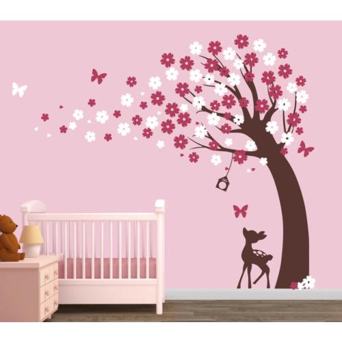 Besta Duvar Sticker Ağaç ve Ceylan