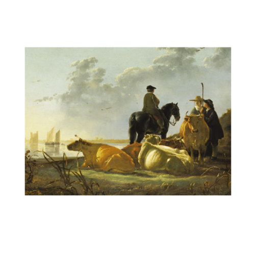ARTİKEL Aelbert Cuyp - Peasants and Cattle by the River Merwede 50x70 cm KS-1396