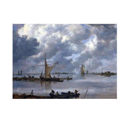 ARTİKEL Jan van Goyen - An Estuary with Fishing Boats and Two Frigates 50x70 cm KS-1346