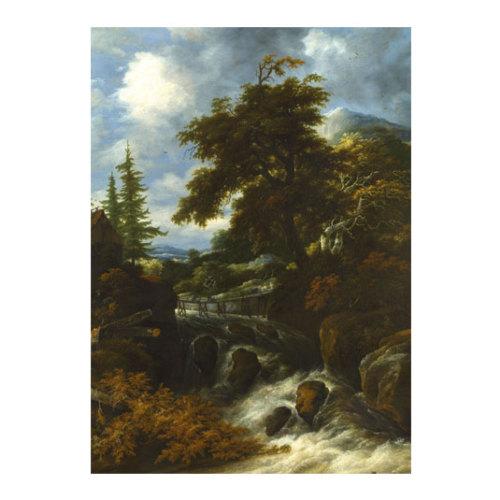 ARTİKEL Jacob Salomonsz Van Ruysdael - A Waterfall by a Cottage in a Hilly Landscape 50x70 cm KS-1498