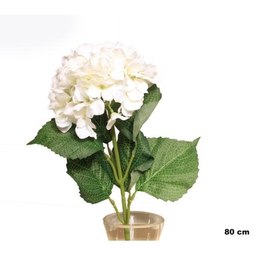 Yedifil Geniş Yaprak Ortanca Beyaz Yapay Çiçek