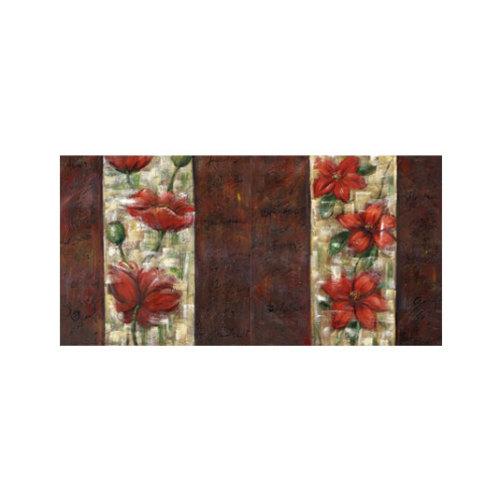 ARTİKEL Floral Red 2 Parça Kanvas Tablo 80x40 cm KS-776