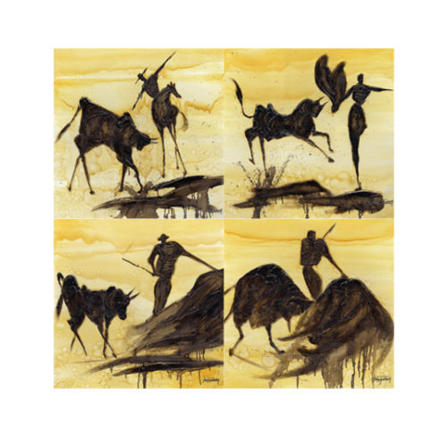 ARTİKEL Hardworking 4 Parça Kanvas Tablo 70x70 cm KS-779