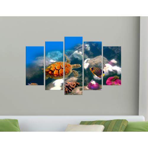 K Dekorasyon Deniz Canlıları 5 Parçalı Mdf Tablo KM-5P 2073