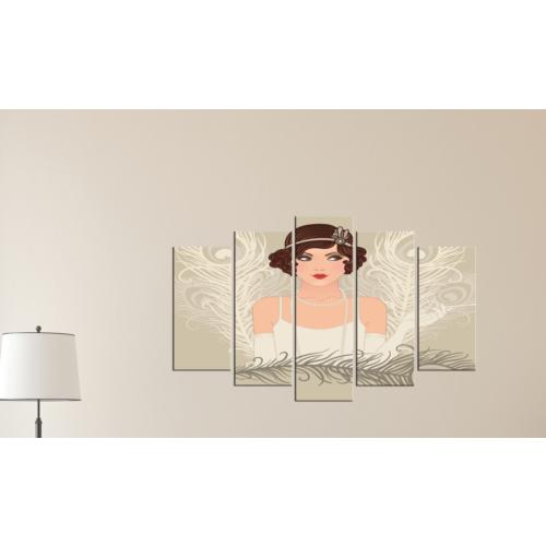 K Dekorasyon Nostalji Kadın 5 Parçalı Mdf Tablo KM-5P 2203
