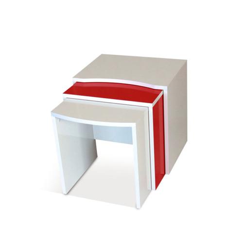 Prado Twist Üçlü Zigon Sehpa - Kırmızı