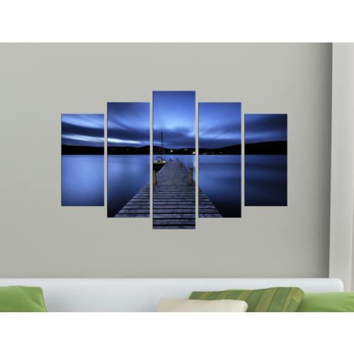 K Dekorasyon Mavi Akşam 5 Parçalı Mdf Tablo KM-5P 2083