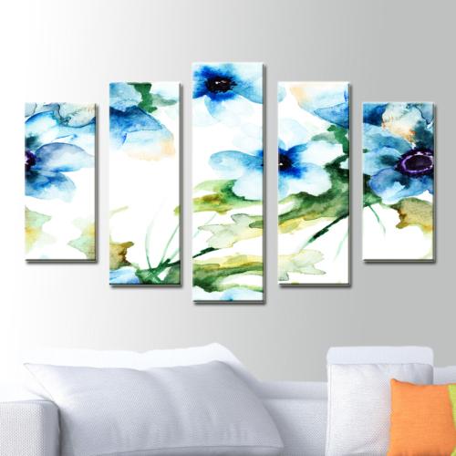 K Dekorasyon Kır Çiçeği 5 Parçalı Mdf Tablo KM5P1791