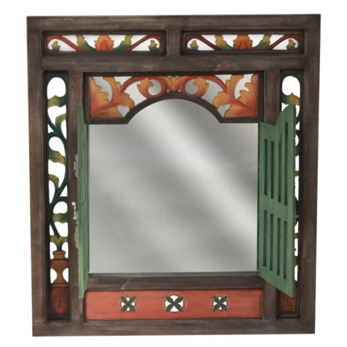 Ahşap Tasarım Motifli Salon Aynası
