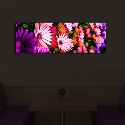 Özgül Grup Çiçekli Aydınlatmalı Dekoratif Kanvas Tablo 30x90 cm ACT-43