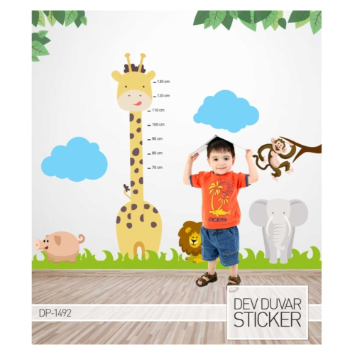 Artikel Zürafa Boy Cetveli Dev Duvar Sticker