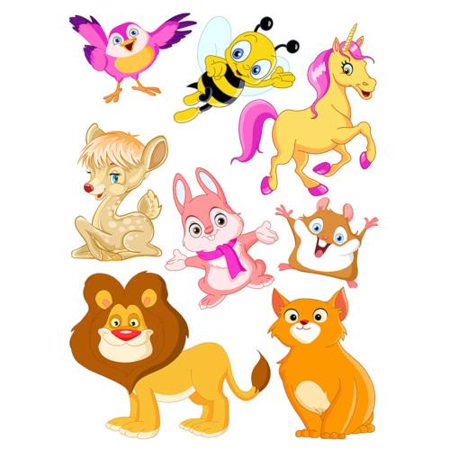 Dekorjinal Çocuk Odası Duvar Sticker Sevimli Hayvanlar - Kcs37