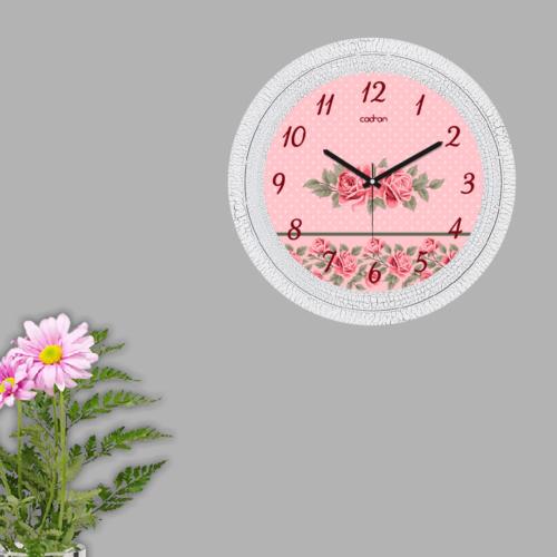 Cadran Dekoratif Vintage Çatlak Desen Duvar Saati Puantiyeli Pembe Güller 153