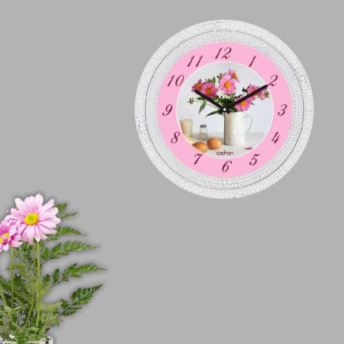 Cadran Dekoratif Vintage Çatlak Desen Duvar Saati Vazo Çiçek 171