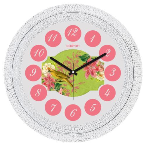 Cadran Dekoratif Vintage Duvar Saati Çatlak Desen Pembe Çiçekler Kuş 1108-43