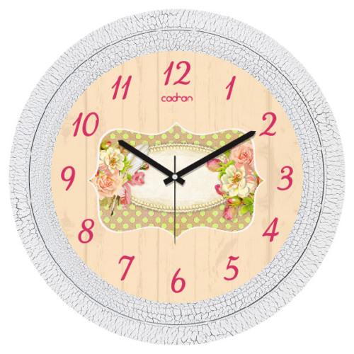 Cadran Dekoratif Vintage Duvar Saati Çatlak Desen Pembe Gül 1108-42
