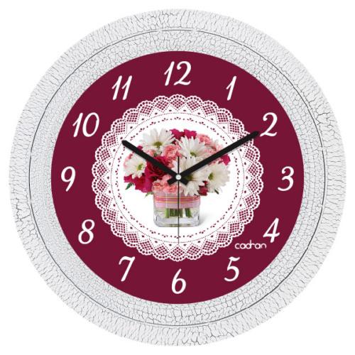 Cadran Dekoratif Vintage Duvar Saati Çatlak Desen Dantel Çiçek 1108-60
