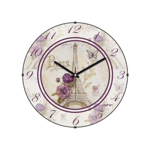 Cadran Paris Collection Bombeli Cam Duvar Saati Eyfel Kulesi Çiçekler 130-6