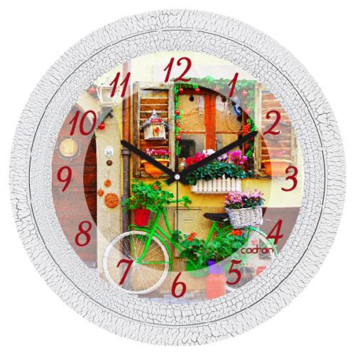 Cadran Dekoratif Vintage Duvar Saati Çatlak Desen Bisiklet Çiçekler 1108-39