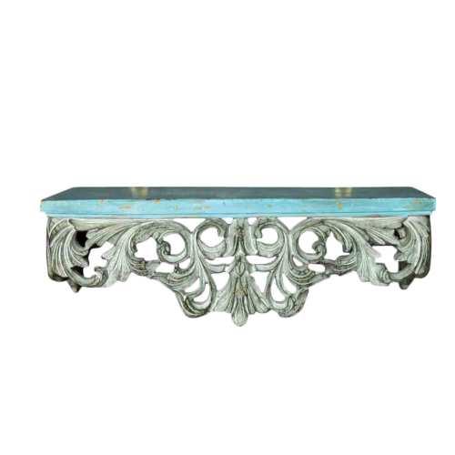 Vitale Fransız Stil Gümüş Varak Duvar Dekor Turkuaz