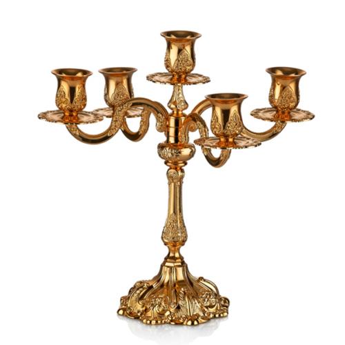 Cemile Altın Kaplama 5 Kollu Şamdan