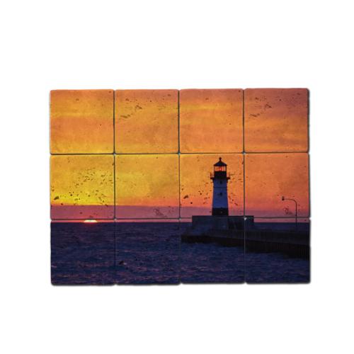 Oscar Stone Deniz Feneri Doğal Taş Tablo