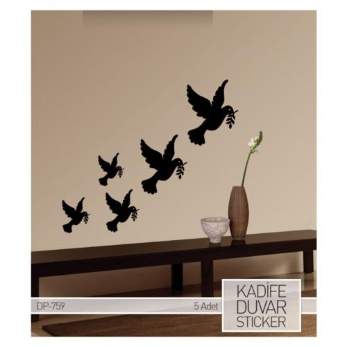 Artikel Barış Güvercinleri Kadife Duvar Sticker DP 759