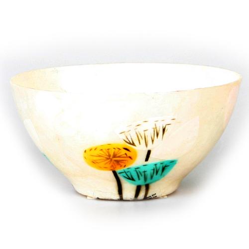 Kanca Ev Sea Shell Sedef Fildişi Kase Sarı Mavi Çiçek Motifli