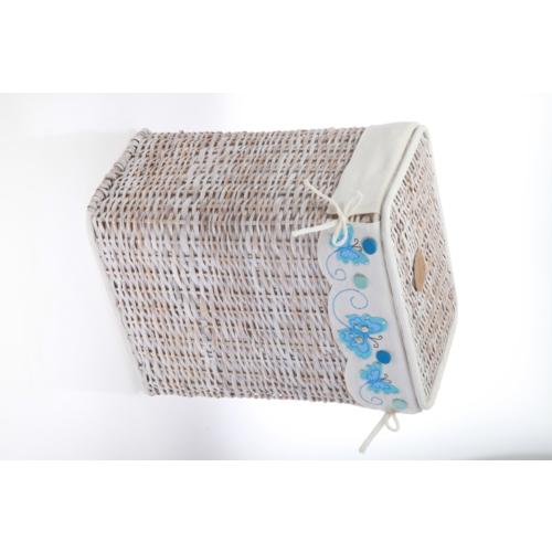 Kancaev Hasır, Eskitilmiş Beyaz, Dikey Çamaşır Sepeti, Mavi Kelebekli, Orta