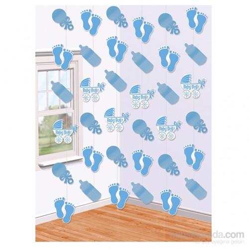 Kullanatmarket Erkek Bebek Mavi İp Süs 6 Adet