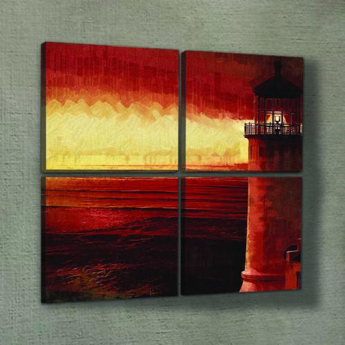 Artikel Red Lighthouse 4 Parça Kanvas Tablo 70X70 Cm