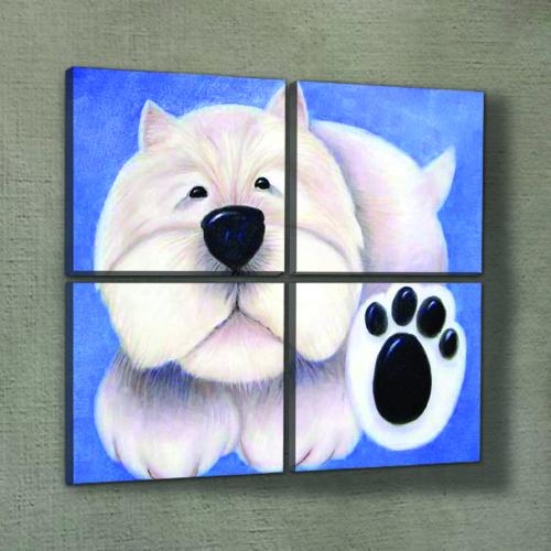 Artikel Sweet Dog 4 Parça Kanvas Tablo 70X70 Cm