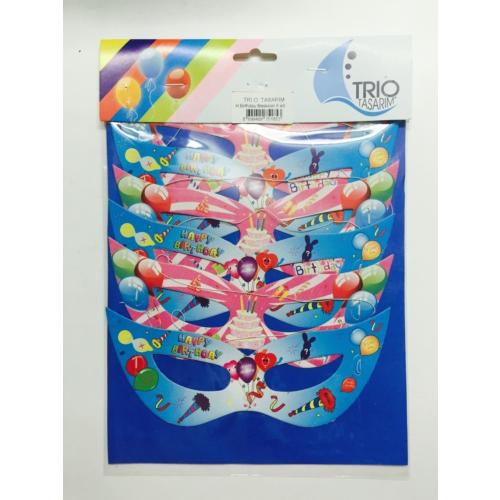 Trio Happy Bırthday Maske 6 Adet