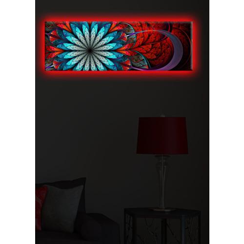 Renkli Çiçek Arkadan Aydınlatmalı Kanvas Tablo - 30X90 Cm