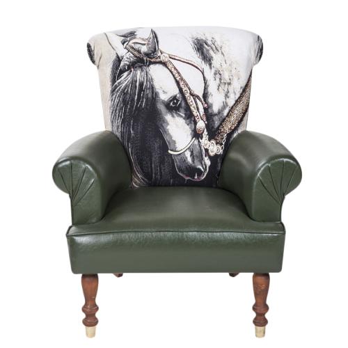 3A Mobilya Lovely Horse Berjer - Yeşil Desenli