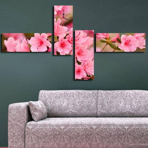 4 Parça Kanvas Saat - Pembe Çiçekler