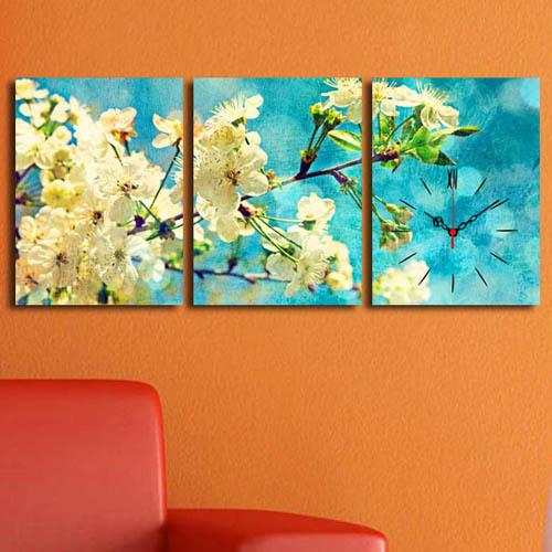 3 Parça Kanvas Saat - Dalda Açan Çiçekler