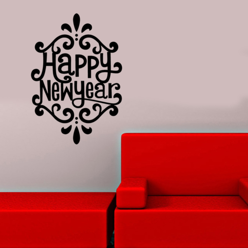 New Year Yazılı Duvar Sticker