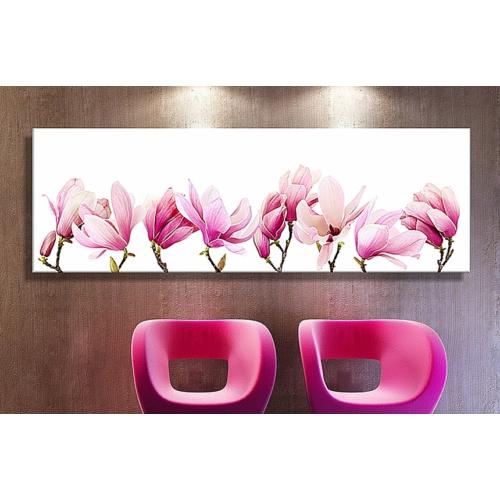 Abella Xxl Boy Dekoratif Pembe Sıralı Çiçekler Kanvastablo -120X40 Cm
