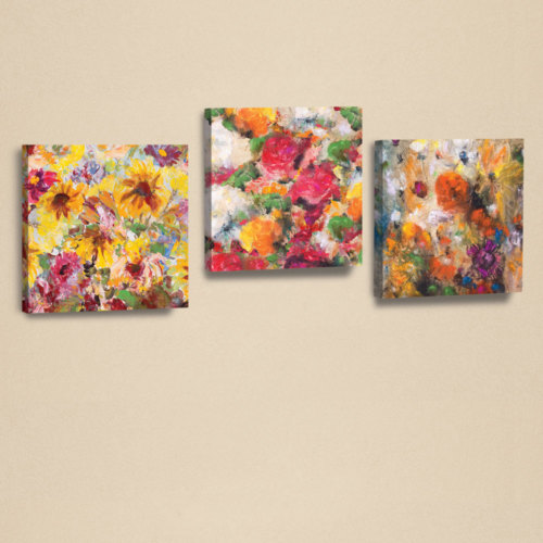 Dekorjinal 3'Lü Kanvas Tablo Seti Çiçekler -3 -D-Ahm110