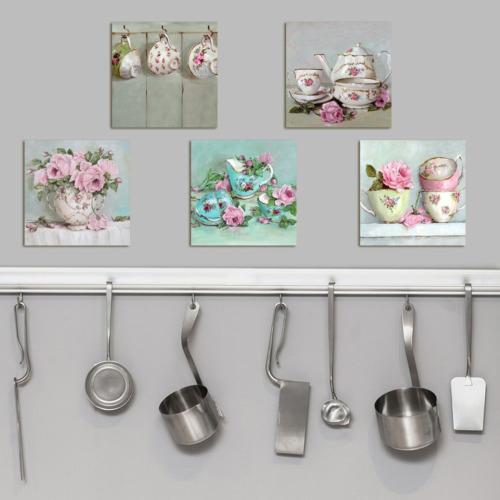 Dekorjinal Çiçekler 5 Parçalı Dekoratif Tablo -Utb039