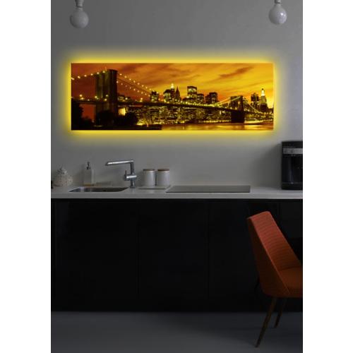 Brooklyn Köprüsü Arkadan Aydınlatmalı Kanvas Tablo - 30X90 Cm