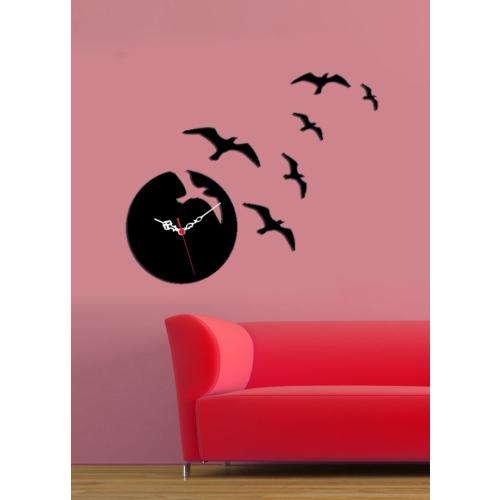 Siyah Martılar Dekoratif Kırılmaz Saat