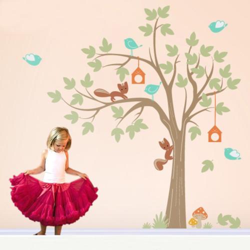 Dekorjinal Kuşlu Ağaç Çocuk Sticker - Ncc01
