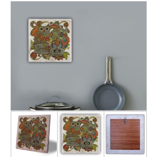 Oscar Stone Yeşil Baykuş Doğal Taş Tablo - 20X20 Cm
