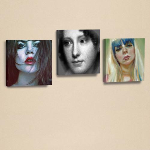 Dekorjinal 3'Lü Kanvas Tablo Seti Kadınlar -4 -D-Ahm091