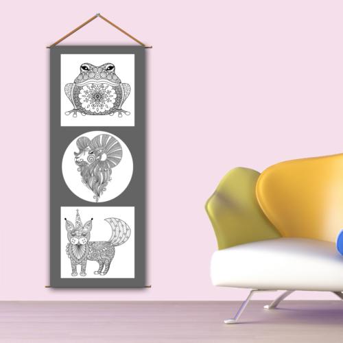 K Dekorasyon Kbcas1004 Askılı Boyanabilir Kanvas Poster (Kalem Hediyeli) - 30X90 Cm