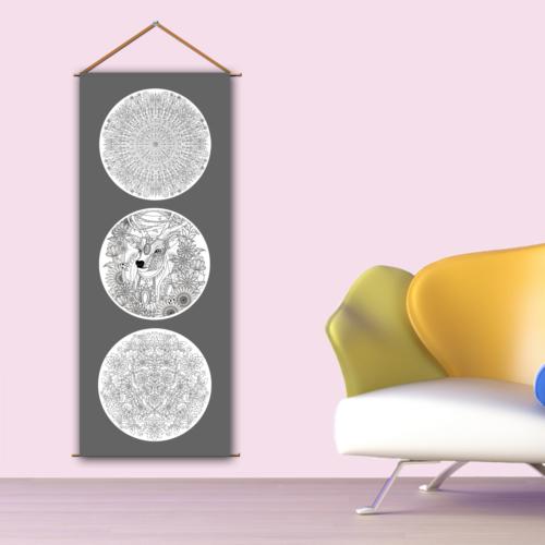 K Dekorasyon Kbcas1020 Askılı Boyanabilir Kanvas Poster (Kalem Hediyeli) - 30X90 Cm