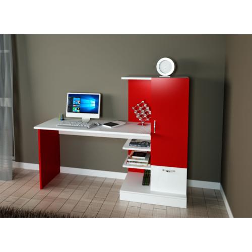 EvdemoAe-1055 Lale Kitaplıklı Çalışma Masası Kırmızı